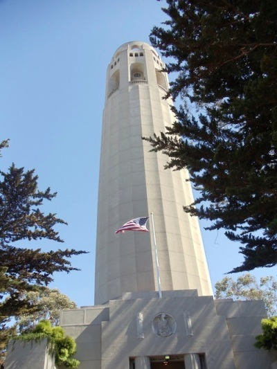 Coit Tower standing tall like you'd expect a tower to
