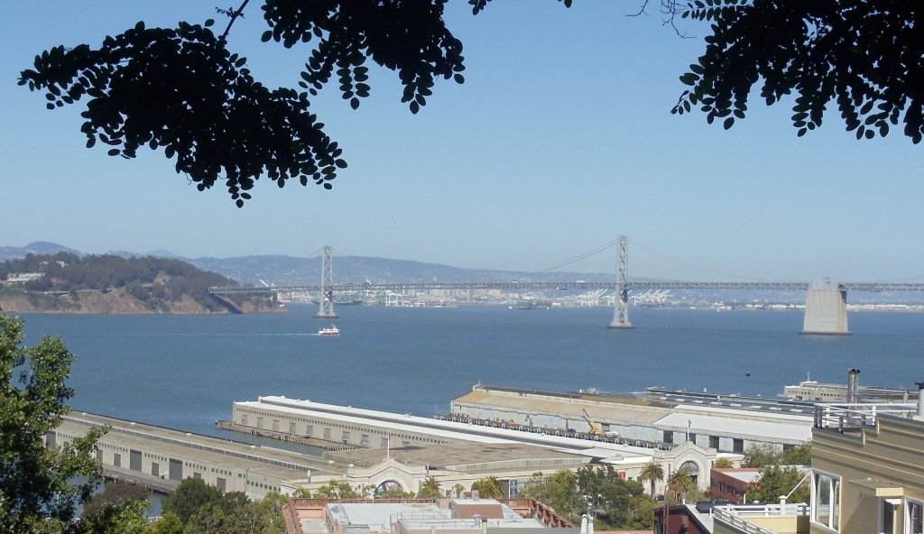 The Bay Bridge as seen from the Filbert Steps